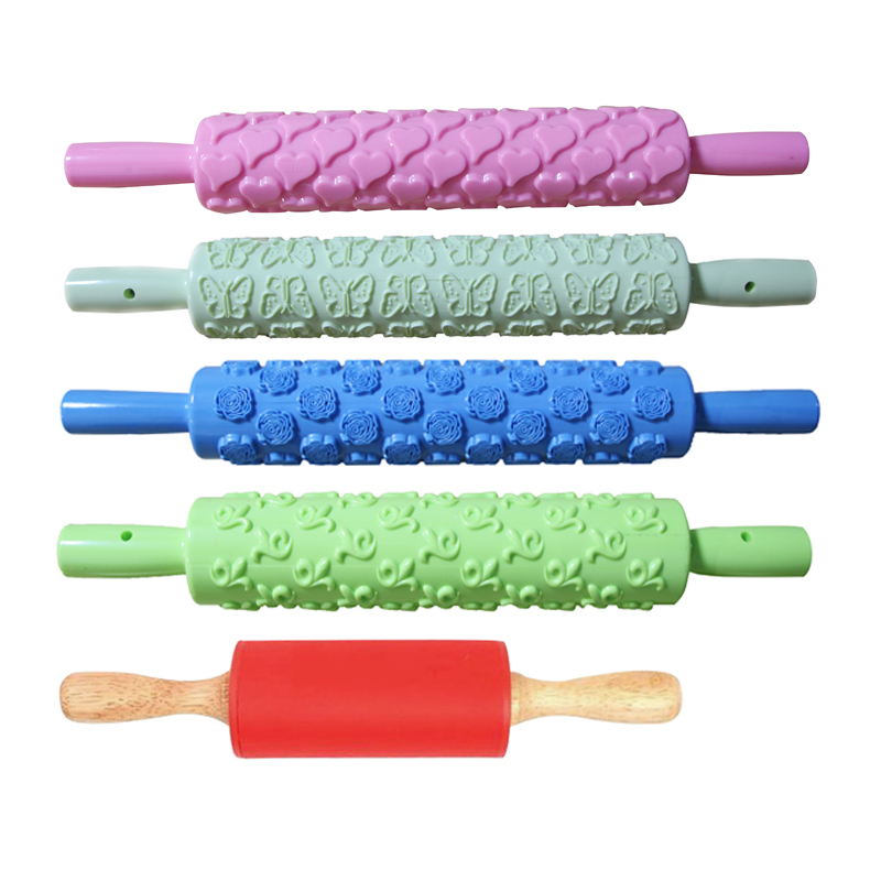 Pastry Making Food Grade Material Silicone Rolling Pin Candy Color Non Stick FI
