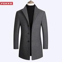FGKKS Autumn Winter Men Wool Coat New Men's Slim Fit Warm Co