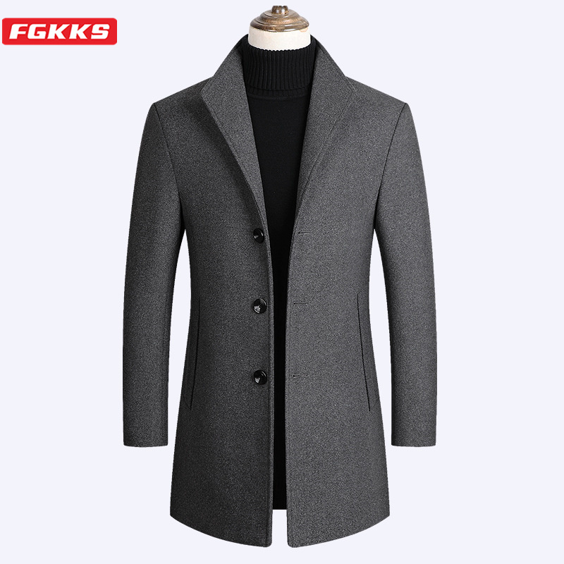 FGKKS Autumn Winter Men Wool Coat New Men's Slim Fit Warm Coats Solid Color Casual Mid-Length Wool Blends Coats Male