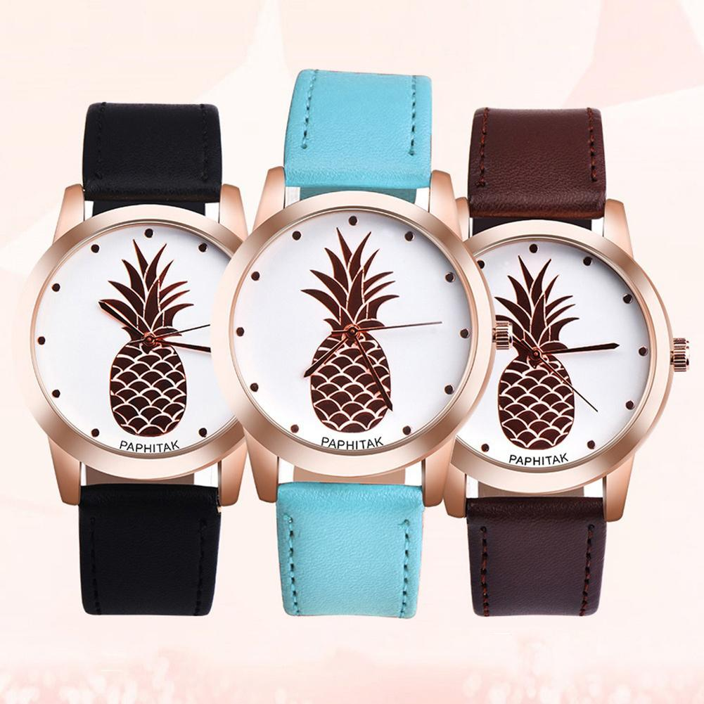 Couple Watch Women Casual Pineapple Watch Men Simple  Faux Leather Analog Quartz WristWatch Colck Relogio Feminino Women Watches