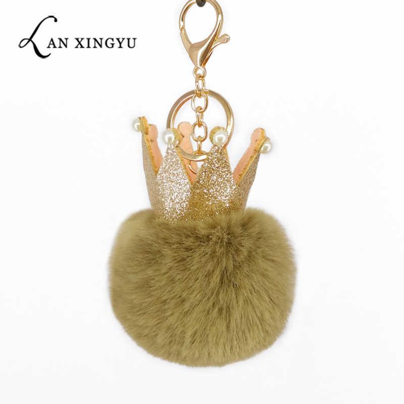 Moda lantejoulas coroa chaveiro pompons macio bola chaveiro para as mulheres saco pingentes decoração chave do telefone acessórios das mães presentes