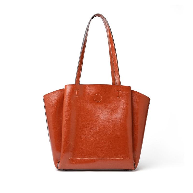 2019 Fashion Soft Genuine Leather Female Shoulder Bag Ladies Tote Big Luxury Dark Brown Women Leather Handbags