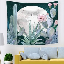 Hot 2 Size Tapestry Green Cactus Style Pattern Decorative Watercolor Hanging Wall Tapestries Mat Home Decor