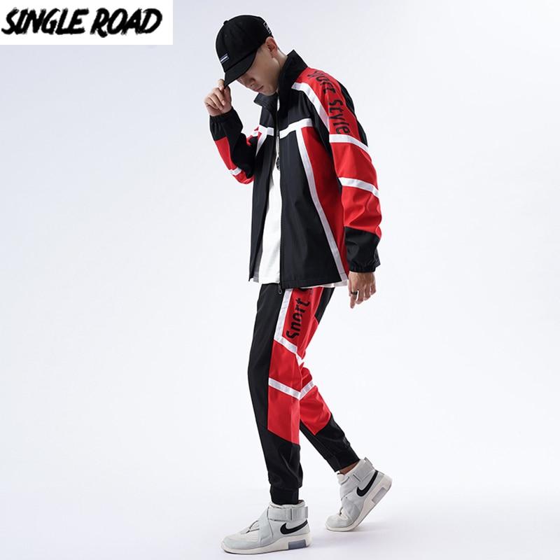 SingleRoad Mens Tracksuit Men Sets 2020 Autumn Side Striped Patchwork Black Coat Japanese Streetwear Hip Hop Sweat Suit Set
