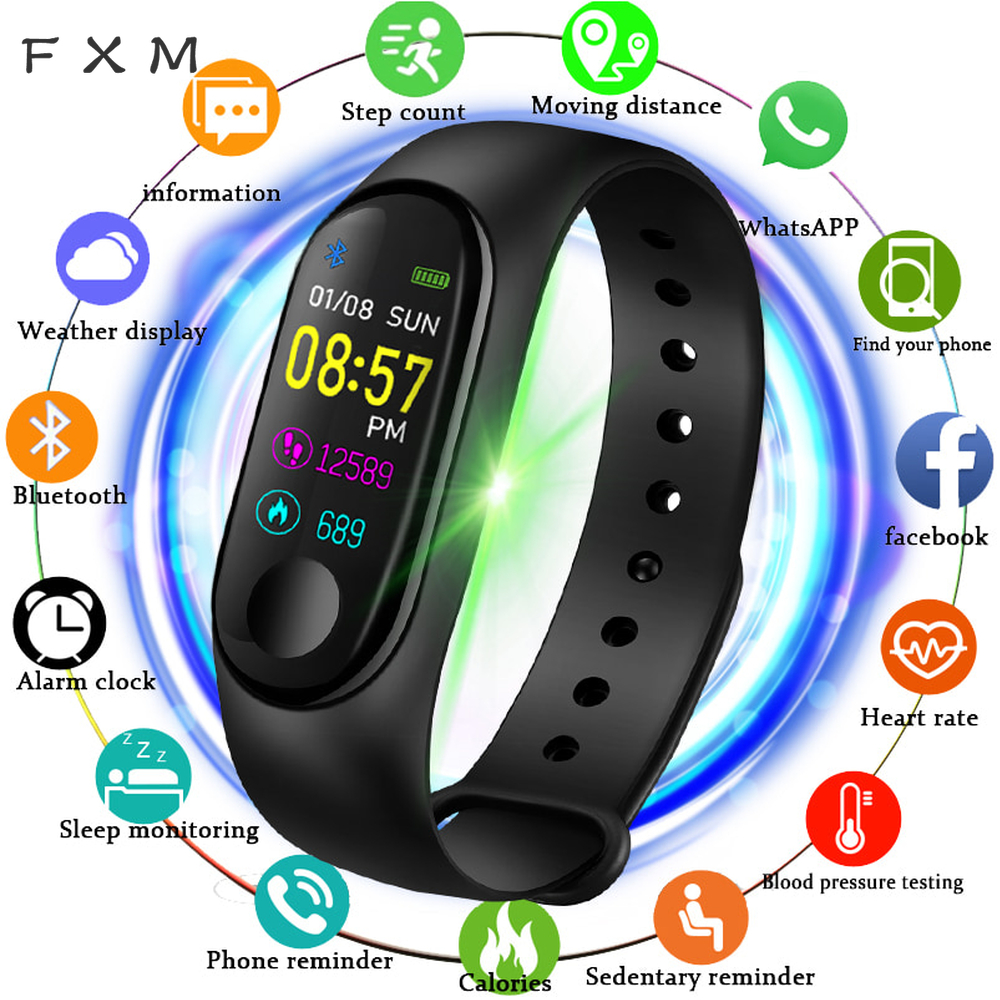 FXM 2020 Smart Sports Watch Women Digital Watch Men Heart Rate Blood Pressure Monitor Fitness Tracker Pedometer Bluetooth Watch