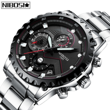 купить Relogio Masculino NIBOSI Top Brand Luxury Mens Watches Fashion New Sport Quartz Watch Full Steel Waterproof Business Men Watch по цене 1562.5 рублей