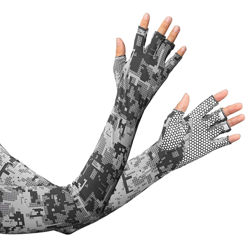 Cycling Arm Sleeves Ice Arm Sleeve Fingerless Sun Compression Arm Cover Non-Slip Cycling Gloves For Men Women