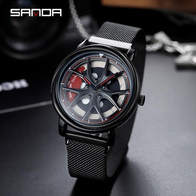 SANDA 2019 New Top Brand Men Watches Mens Mesh Belt Waterproof Casual Quartz Date Clock Male Wrist watch relogio masculino