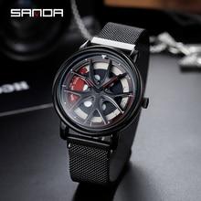 SANDA 2019 nouveau haut marque hommes montres hommes maille ceinture étanche décontracté Quartz Date horloge mâle montre bracelet relogio masculino