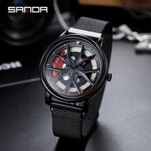 SANDA 2019 yeni üst marka erkek saatler erkek örgü kemer su geçirmez rahat kuvars kol saati erkek kol saati relogio masculino