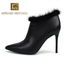 KATELVADI Winter Stiletto Boots Thin High Heels Pointed Toe Faux Leather Zipper Style Sexy Ankle Womens Boots Plus Size 46 K-483 faux pearl pointed toe stiletto heels