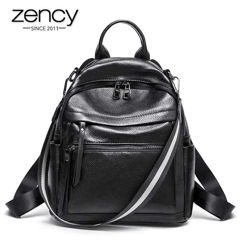 Zency Classic Black Women Backpack 100% Genuine Leather Daily Casual Travel Bag Large Capacity Knapsack High Quality Schoolbag