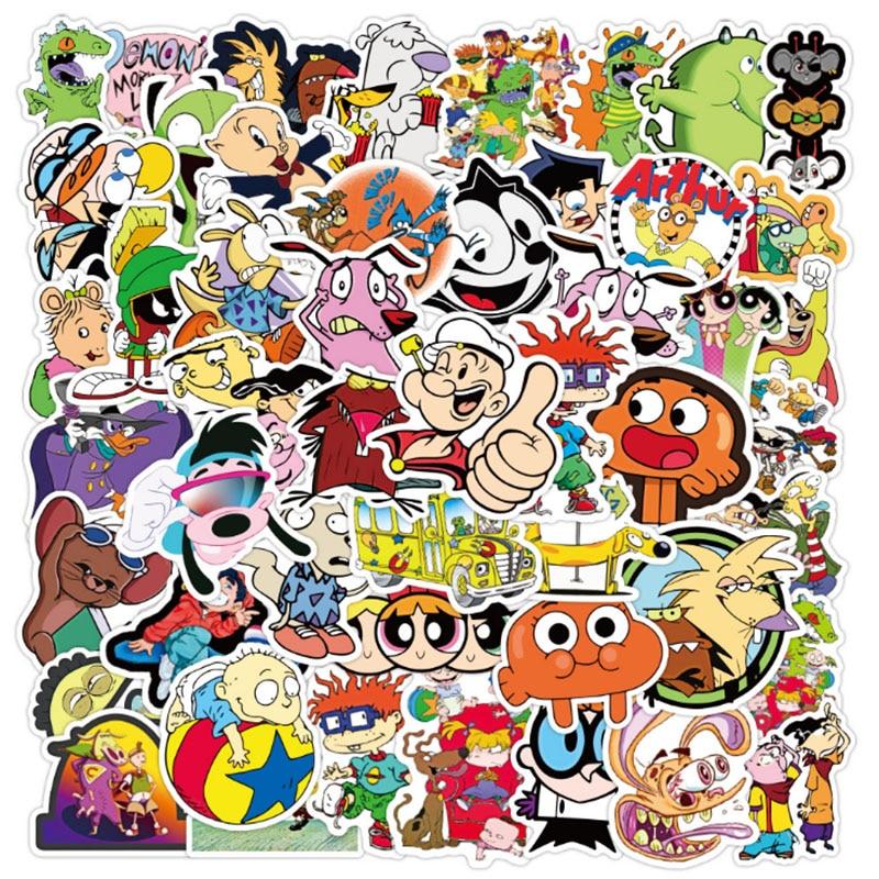 50 шт. классические 90s стиле «граффити» из мультфильма; Водонепроницаемый скейтборд, масштабных дорожных чемоданов для мобильных устройств на чемодан наклейки милой детской одежды для девочек, игрушки
