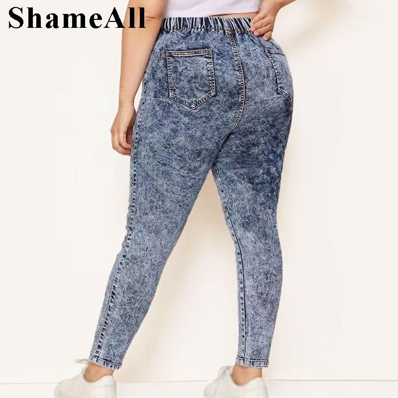 Plus Size Elastic High Waist Snow Wash Pencil Pants Casual Female Jeans 3 4 5XL Women Stretch Long Denim Pant Trousers Mom Jeans