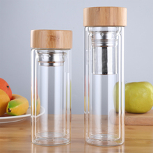 350ml 450ml Dink Tea with Infuser Bamboo Lid Double Wall Bottle for Glass Water Bottles for Water Brief Portable Outdoor Cup glass bottle with tea infuser double wall glass portable travel outdoor tea tumbler bottles home office drinkware for car 350ml