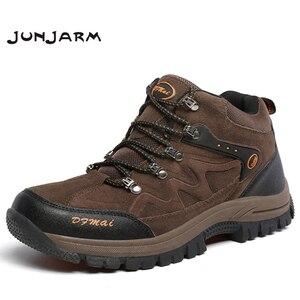 Image 1 - JUNJARM zapatos de invierno para hombre, botas de nieve cálidas de alta calidad, zapatillas antideslizantes impermeables, calzado ligero 39 48 de moda, 2020