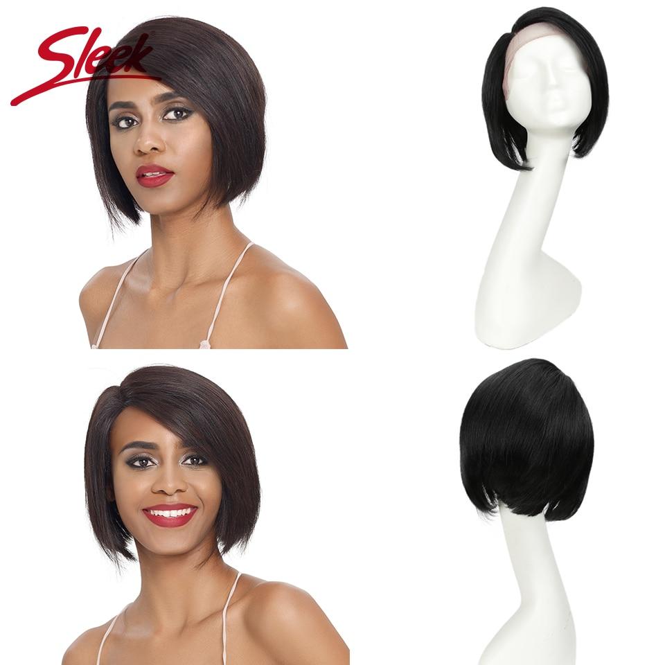 Sleek Lace Human Hair Wigs 100% Remy Brazilian Pixie Cut Wig Short Part Lace Wigs 150% Density Red Straight Short Wigs Rebecca