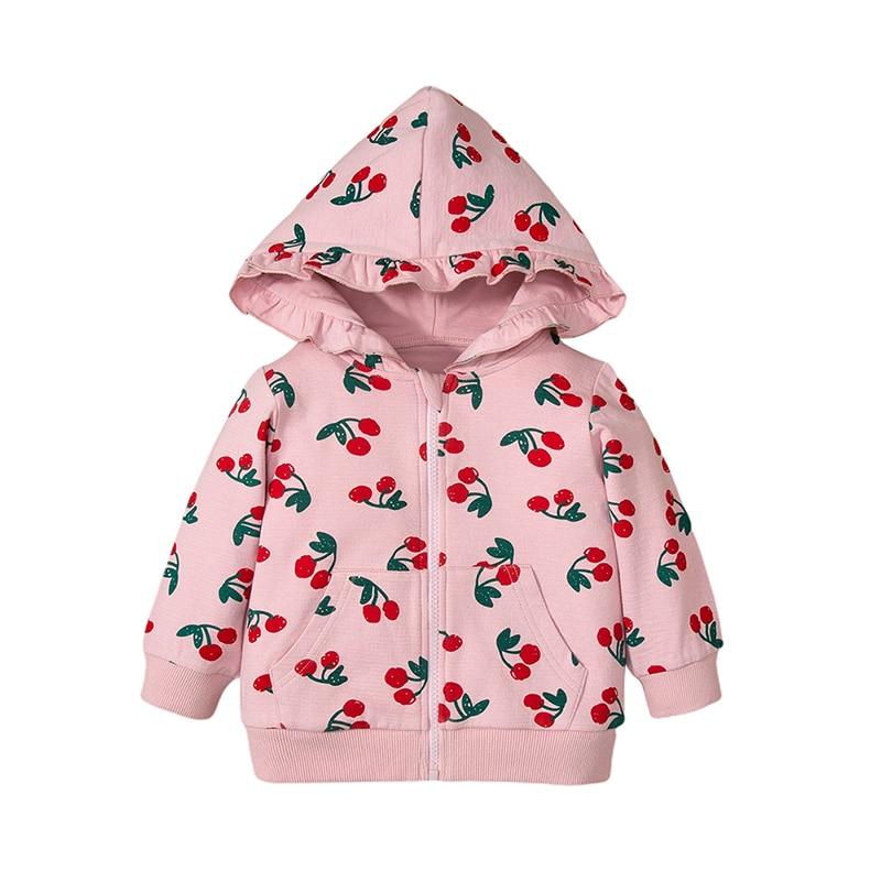Baby Girls Outerwear Clothes Newborn Baby Girl Cotton Jacket Printed Hooded Jacket Pink Children Girl Outerwear 3-18M
