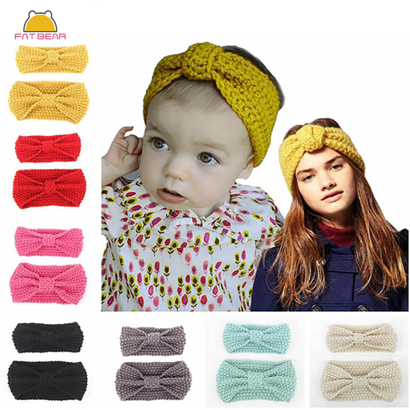 2 Pcs/set Winter Headband Mom And Me For Kids Baby Girls Warm Knitted Ear Knotted Woolen Baby Turban Hairband Hair Accessories