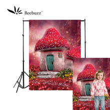 Beebuzz photo backdrop backgroung for children dream mushroom house in fairy tale jungle photophone