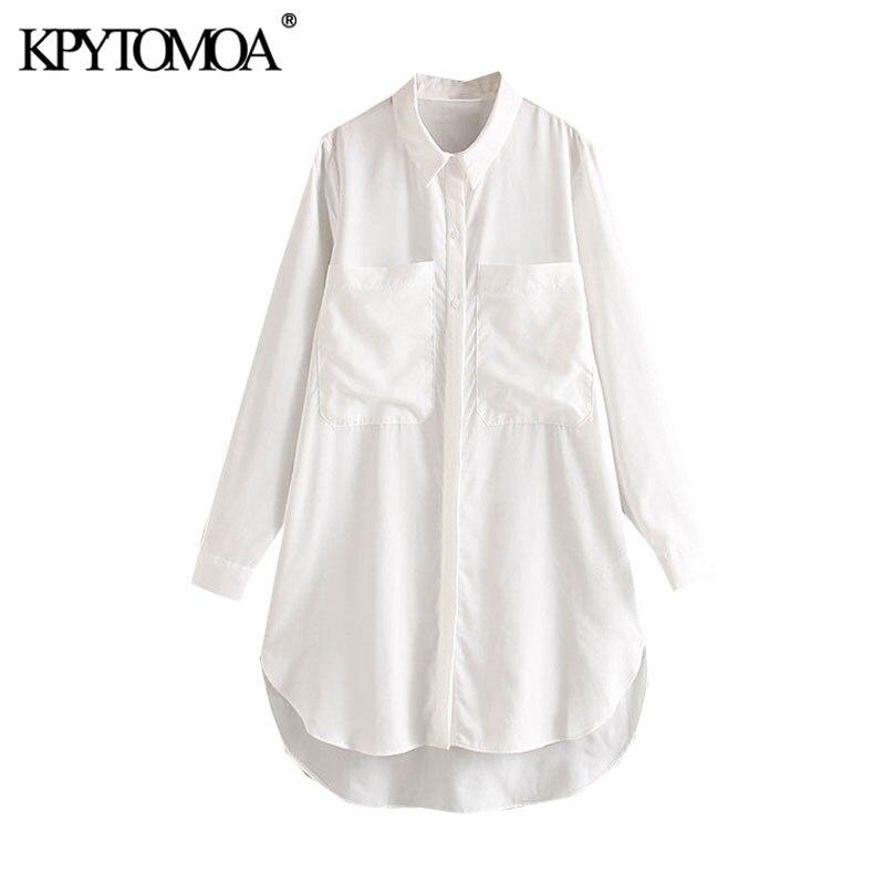 Vintage Elegant Office Wear Pockets White Blouses Women 2020 Fashion Lapel Collar Long Sleeve Female Shirts Blusas Chic Tops