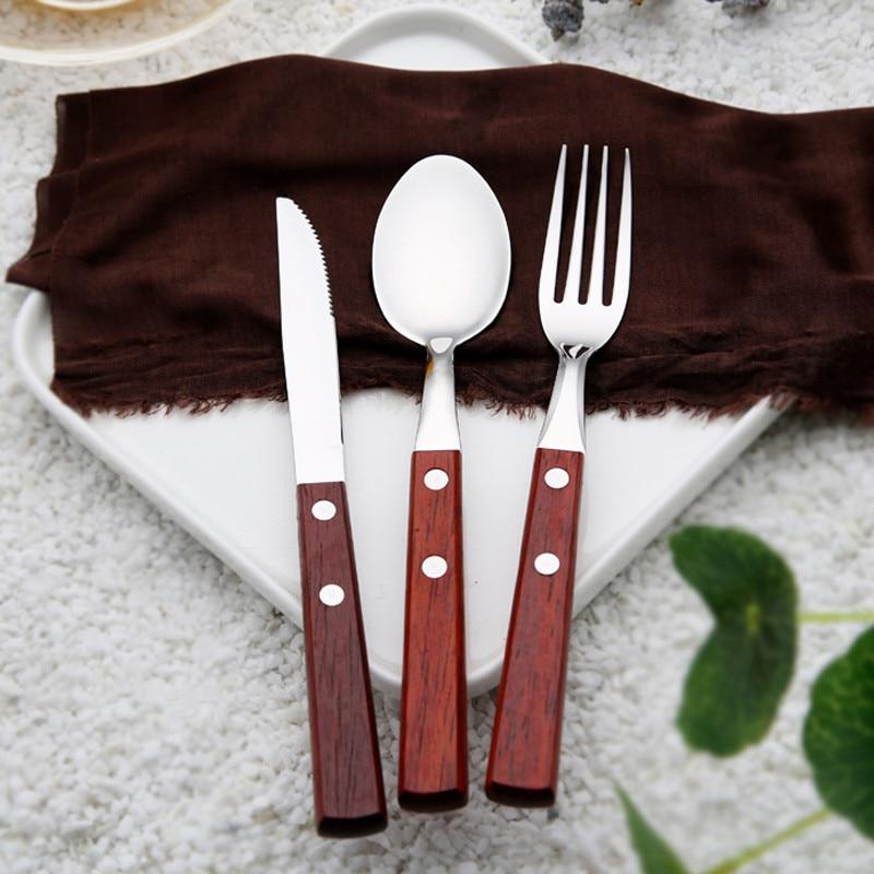 3pcs/Set Wood Handle Dinnerware Stainless Steel Party Dinner Spoon Knife Fruit Fork Cutlery Wood Handle Tableware