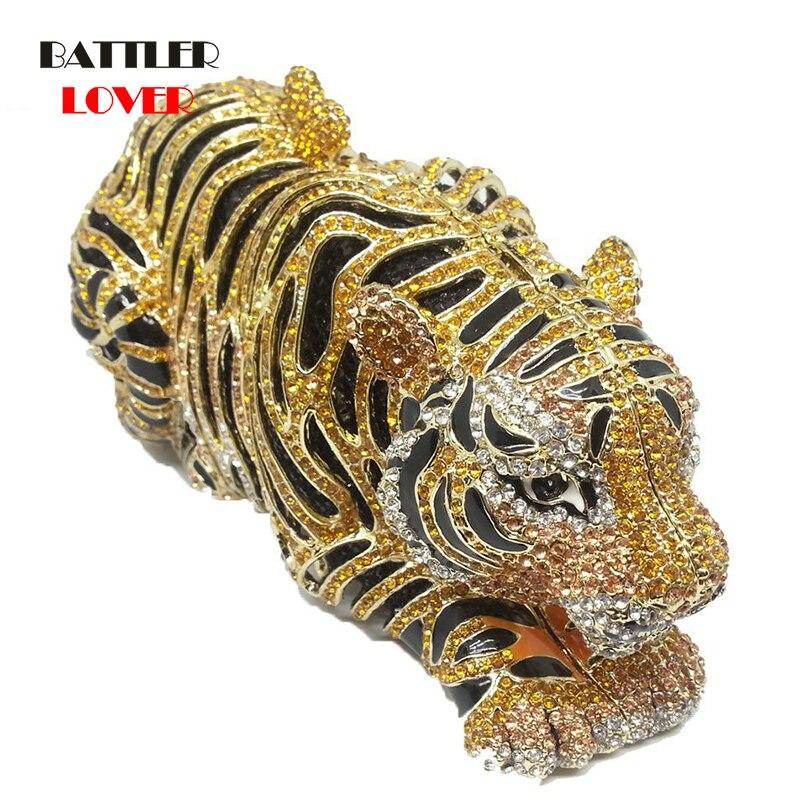 Luxury Bags for Women Elegant Gold Tiger Clutch Minaudiere Evening Bags Diamond Wedding Handbag Bridal Purse Party Dinner Bag