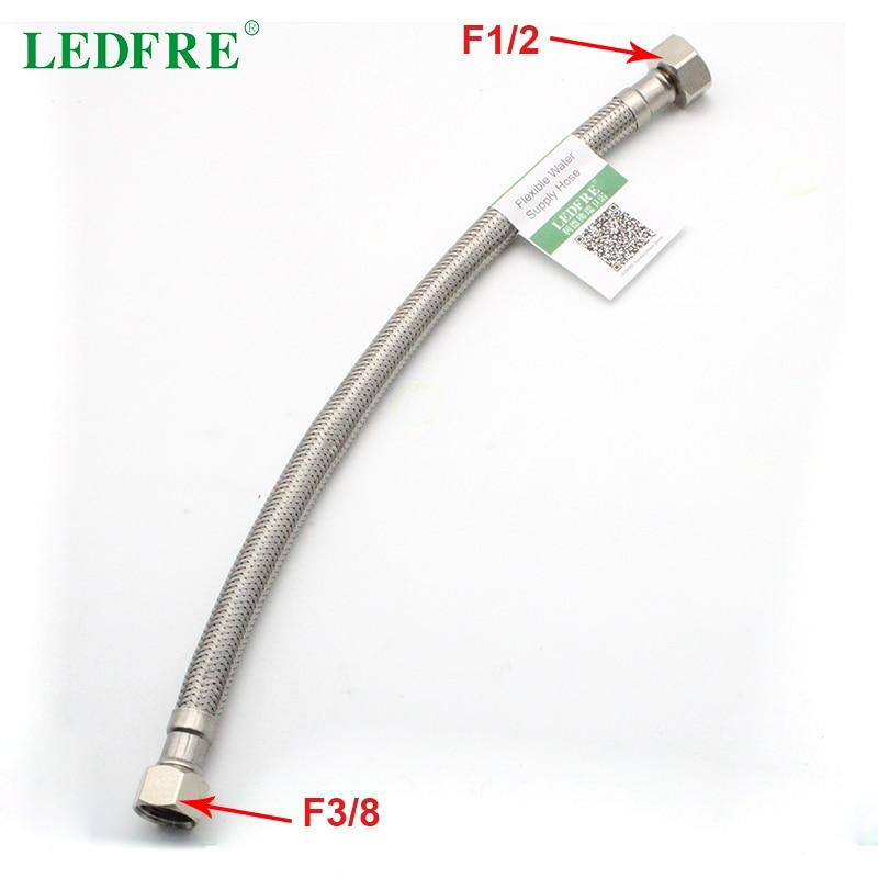 Ledfre f1/2 * f3/8 304 aço inoxidável trançado conector pias torneira linha de abastecimento água mangueira flexível conector conexão lf15006