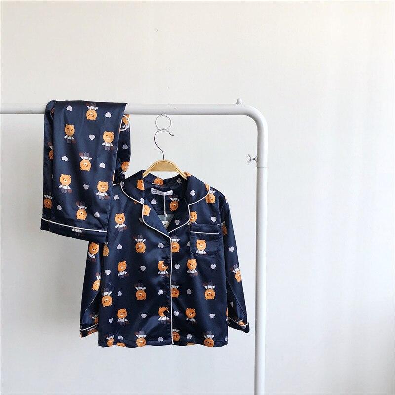Tonytaobaby queda e roupas de inverno novo estilo do bebê pai e criança casa usar pai e criança pijamas azul escuro