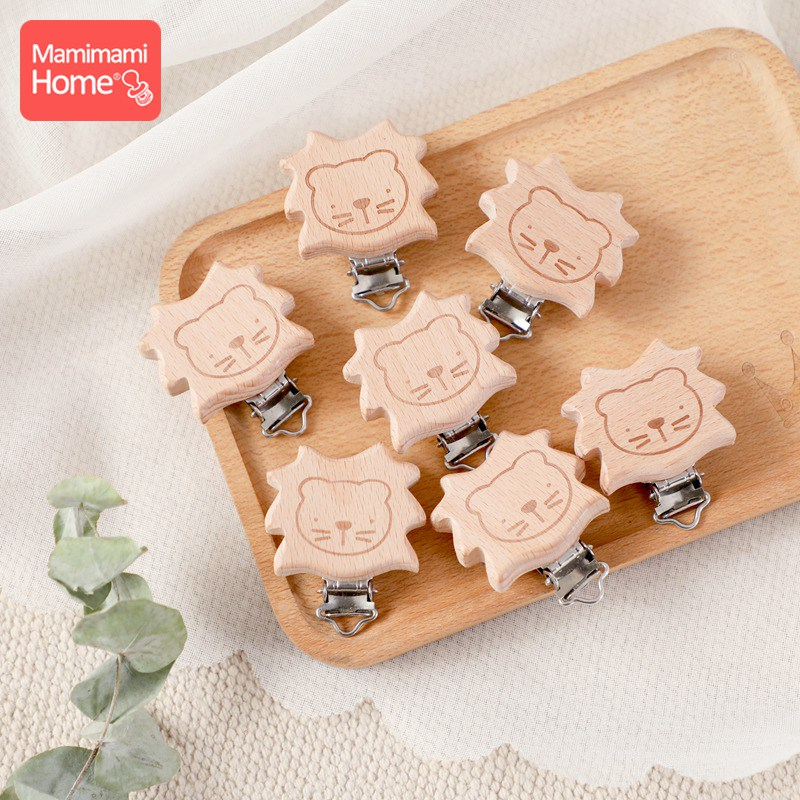 Baby Beech Wooden Clip 5pc Baby Teether Rodent Cartoon Lion DIY Pacifier Chain Nipple Holder Accessories Nurse Gift Teething Toy