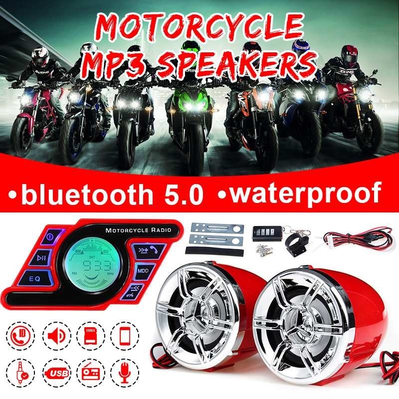 Motorcycle Bluetooth 5.0 Audio+controller Waterproof Anti-theft Alarm System Stereo Sound Speaker FM MP3 Player Music Amplifier