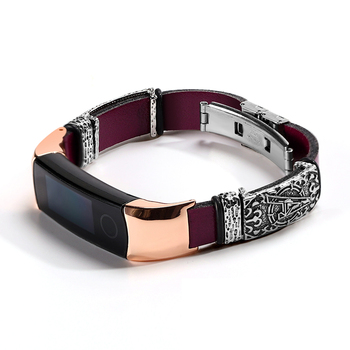 Leather bracelet For HONOR Band 4 5 strap For Huawei HONOR Band 4 Stainless Steel decoration Wristband For honor band 5 strap huawei honor a1 uv testing smart bracelet leather band black