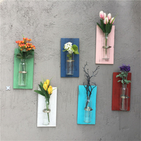 Rustic Retro Wood Glass Wall Vase Room Wall Hanging Decoration Colorful Vases for Home Decor Flowers Not Included