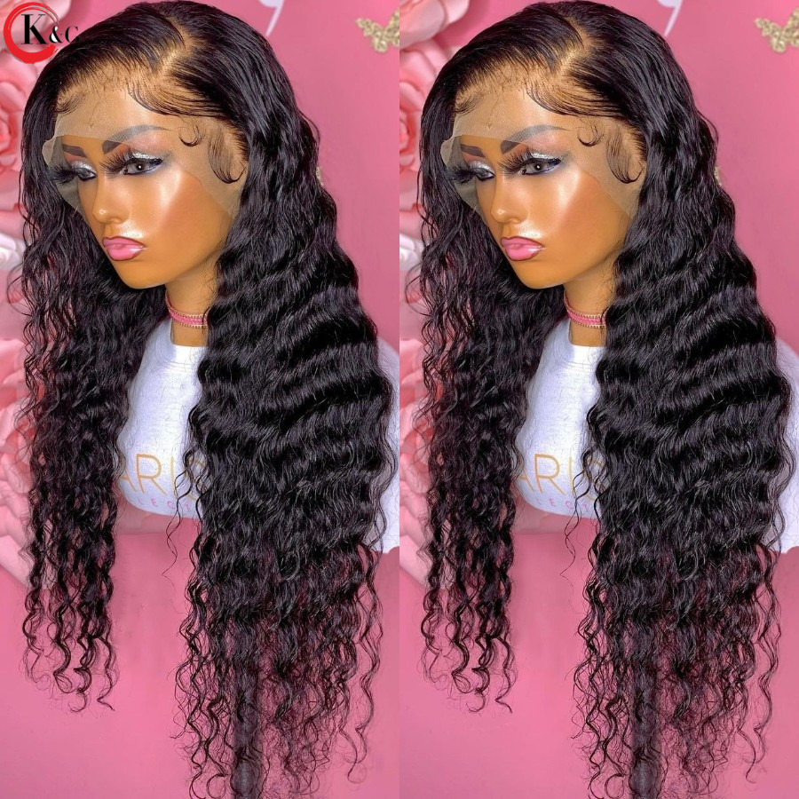 KUNGANG 13*4 Lace Wigs Natural Curly Human Hair Wigs Brazilian Front Wigs 150% Density With Baby Hair Non-Remy