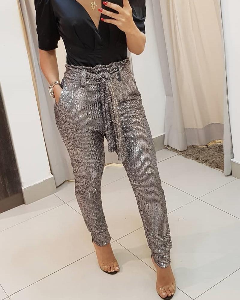 Populaire femmes paillettes ceinturé Slinky crayon pantalon 2019 nouveau solide noir/or femme Bling fête discothèque pantalon