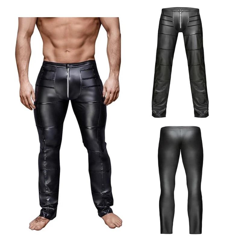 Tight Pantalons hommes en cuir PU Leggings Wetlook Pantalon Long Ouvert entrejambe Sous-vêtements
