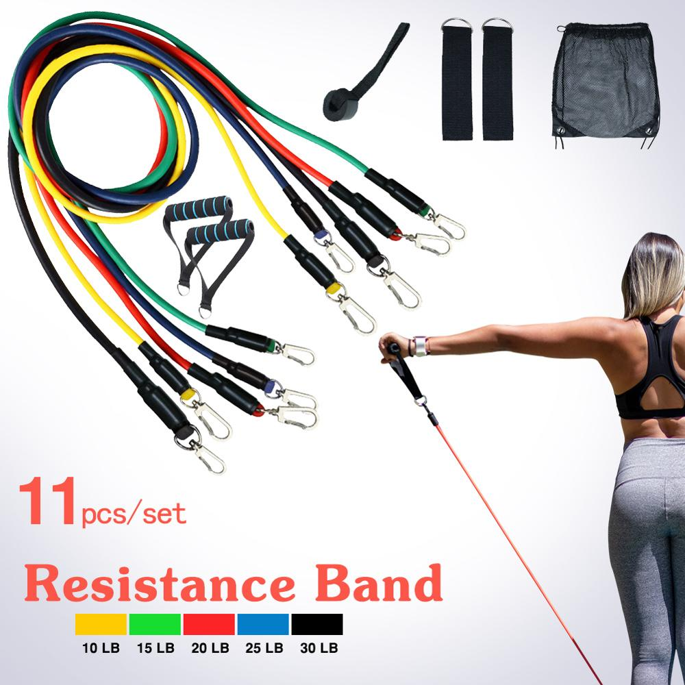 Купить с кэшбэком Resistance Bands Set (11pcs) for Physical Therapy, Resistance Training, Home Workouts