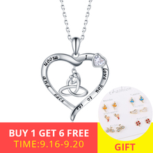 100% Authentic 925 Sterling Silver Classic Mom and Kid Silhouette Heart Clear CZ Necklaces Women Fine Jewelry Engagement gift