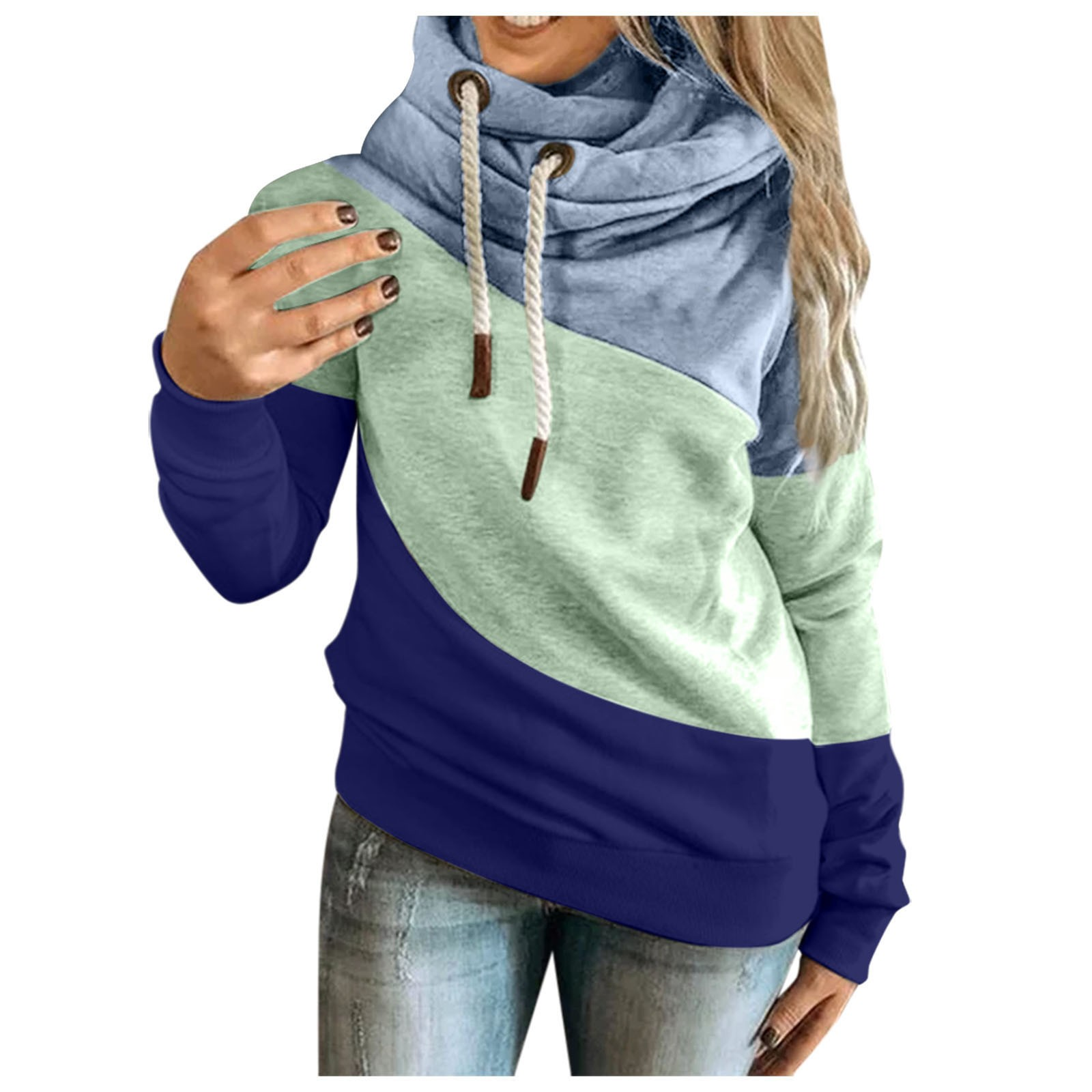 Female Hoodies Women Oversized Sweatshirts Autumn Winter Contrast Stitching Long Sleeve Pullover Top Warm Women's Clothing#LR2 2