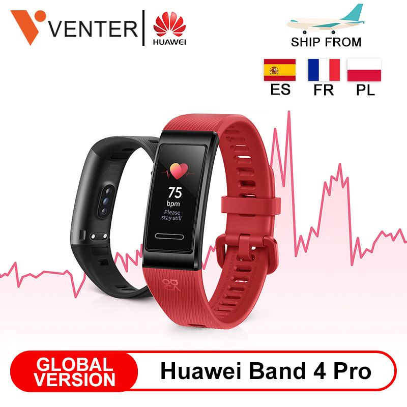 Global Version Huawei Band 4 Pro GPS Amoled 0.95' Metal Material test Heart Rate Sensor Sleep Bracelet image