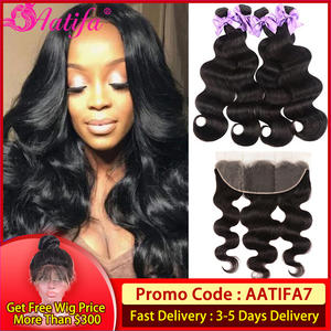 Body-Wave-Bundles Lace-Frontal-Closure Transparent Brazilian with 13x4/13x6