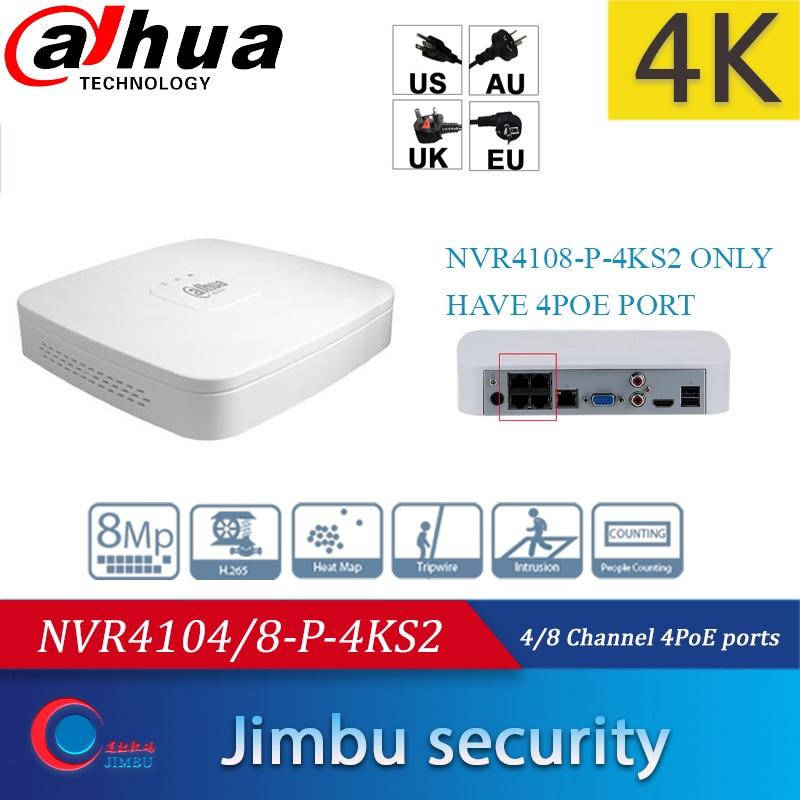 DH 4K NVR NVR4104-P-4KS2 4CH con 4 NVR4108-P-4KS2 de POE 8ch con 4 puertos de POE reemplazar NVR4104-P grabadora de vídeo de red de NVR4108-P