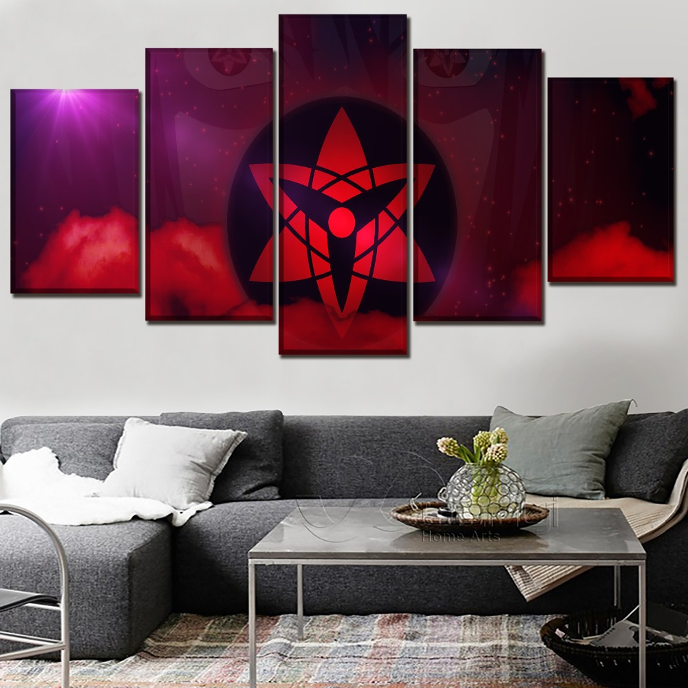 Canvas HD Print Painting Wall Art Modular Picture 5 Panel Anime Naruto Abstract Girls And <font><b>Logo</b></font> <font><b>Poster</b></font> Modern Artwork Home Decor image