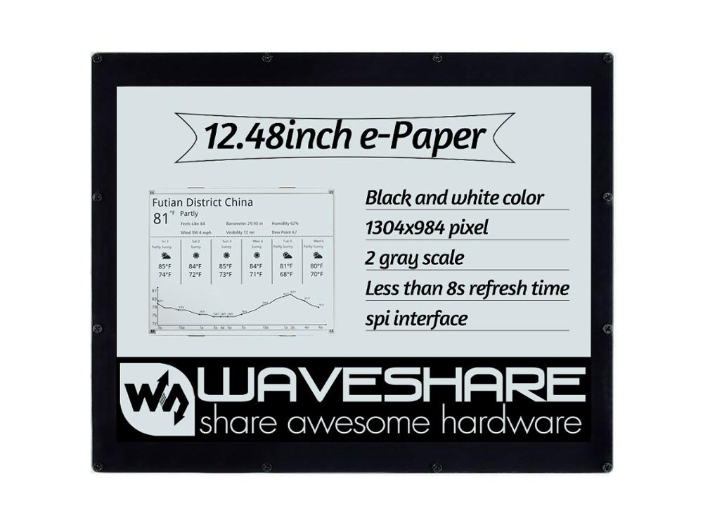 Waveshare 12.48inch E-Ink Display Module, 1304*984 Resolution,black/white Dual-color, SPI Interface