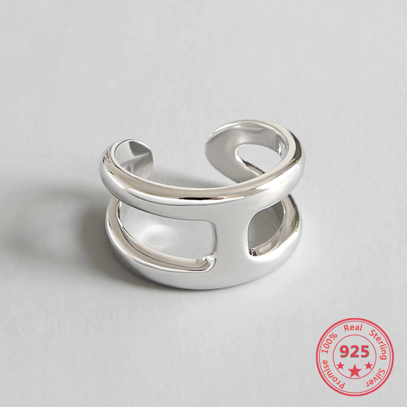 100% Authentic 925 Silver Cross Ring  Jewelry Vintage INS Simple Letter Girlfriend Gift Femme Rings For Women