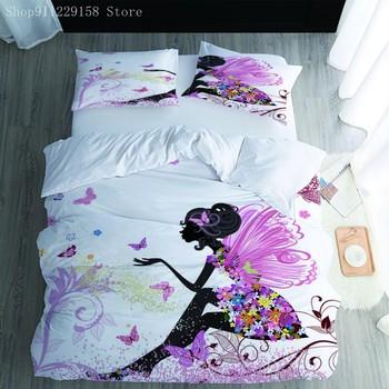 Śliczne Elf pościel zestaw fioletowy kołdra pokrywa 3-narzuty urocza dziewczyna dla dzieci zestaw narzut na łóżko tekstylia domowe tanie i dobre opinie Brak Zestawy poszew na kołdry CN (pochodzenie) mikrofibra 1 0 m (3 3 stóp) 1 2 m (4 stóp) 1 35 m (4 5 stóp) 1 5 m (5 stóp)