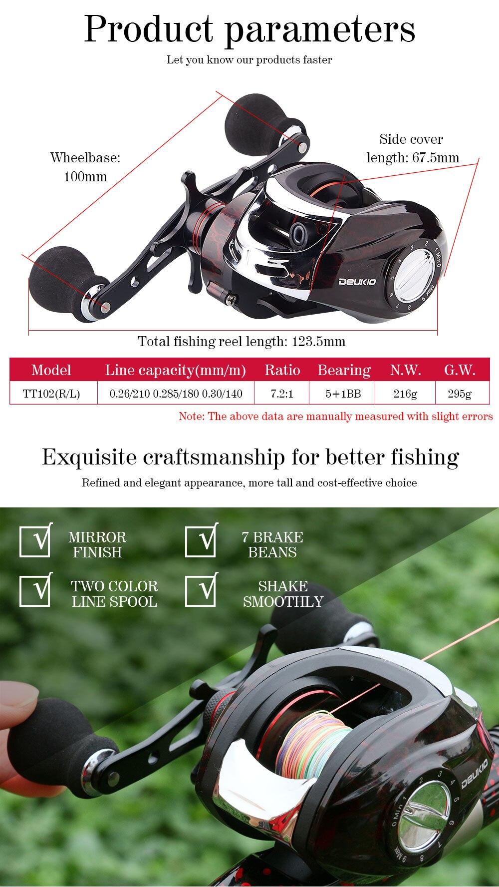 Deukio baitcasting carretel de pesca equipado pe