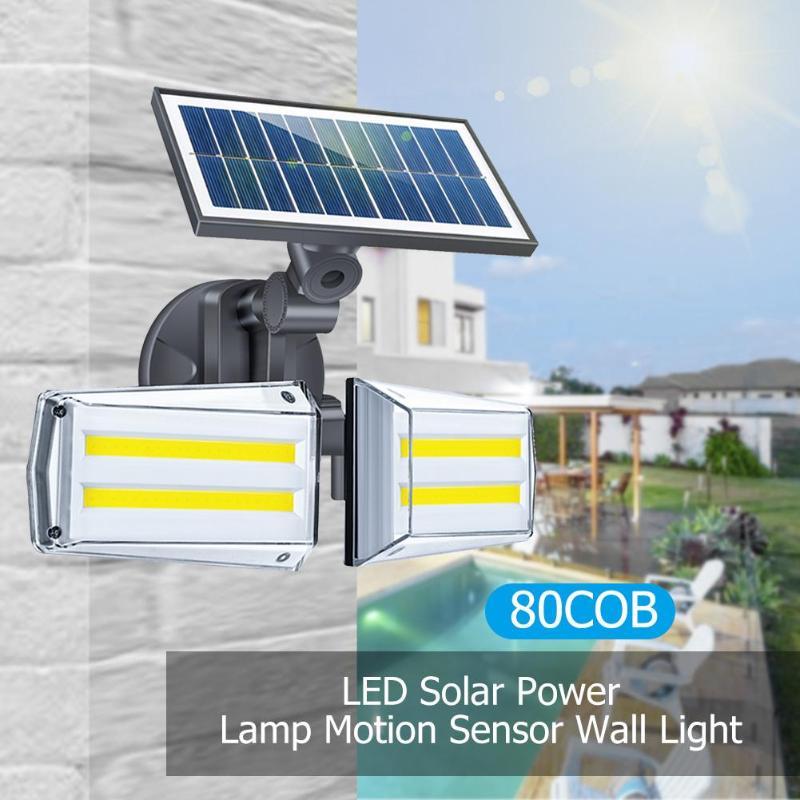 COB 80 LED Outdoor Wall Light IP65 Waterproof Energy Saving Environmental Protection Infrared PIR Motion Sensor Solar Lamp