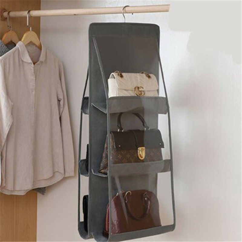 New Style Packing Organizers Solid 6 Pocket Folding Hanging Handbag Storage Holder Organizer Rack Hook Hanger Fashion Hot 2019