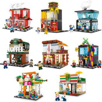 Sembo City Street View Building Block McDonalding Coffee Shop Hamburger Compatible  Kits Brick Toys for Children Gifts 280 pcs mini city street view building blocks coffee shop hamburger store city diy bricks toys for children christmas gifts